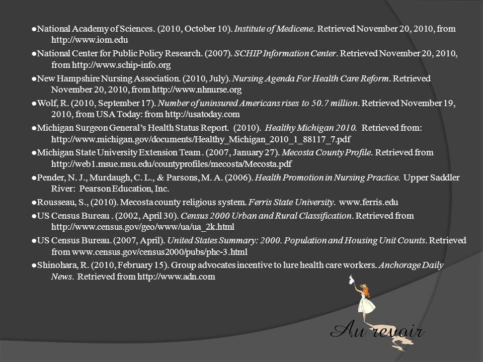 References ●American Nurses Association. (2010, July). Nursing Agenda Fro Health Care Reform. Retrieved November 20, 2010, from http://www.nhnurse.org