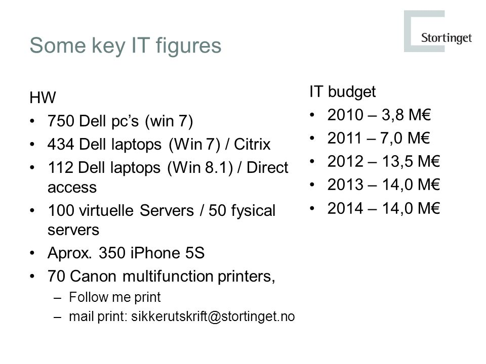 Some key IT figures HW 750 Dell pc's (win 7) 434 Dell laptops (Win 7) / Citrix 112 Dell laptops (Win 8.1) / Direct access 100 virtuelle Servers / 50 f