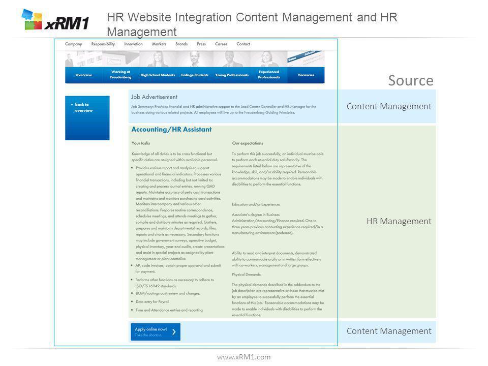 www.xRM1.com HR Website Integration Content Management and HR Management Content Management HR Management Source