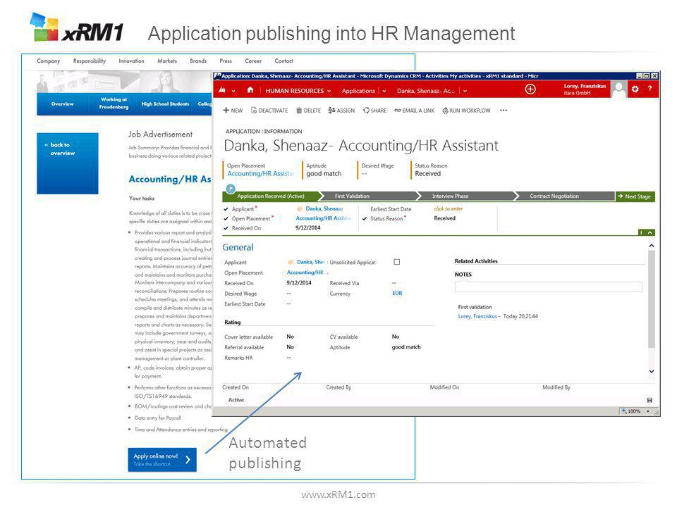www.xRM1.com Application publishing into HR Management Automated publishing