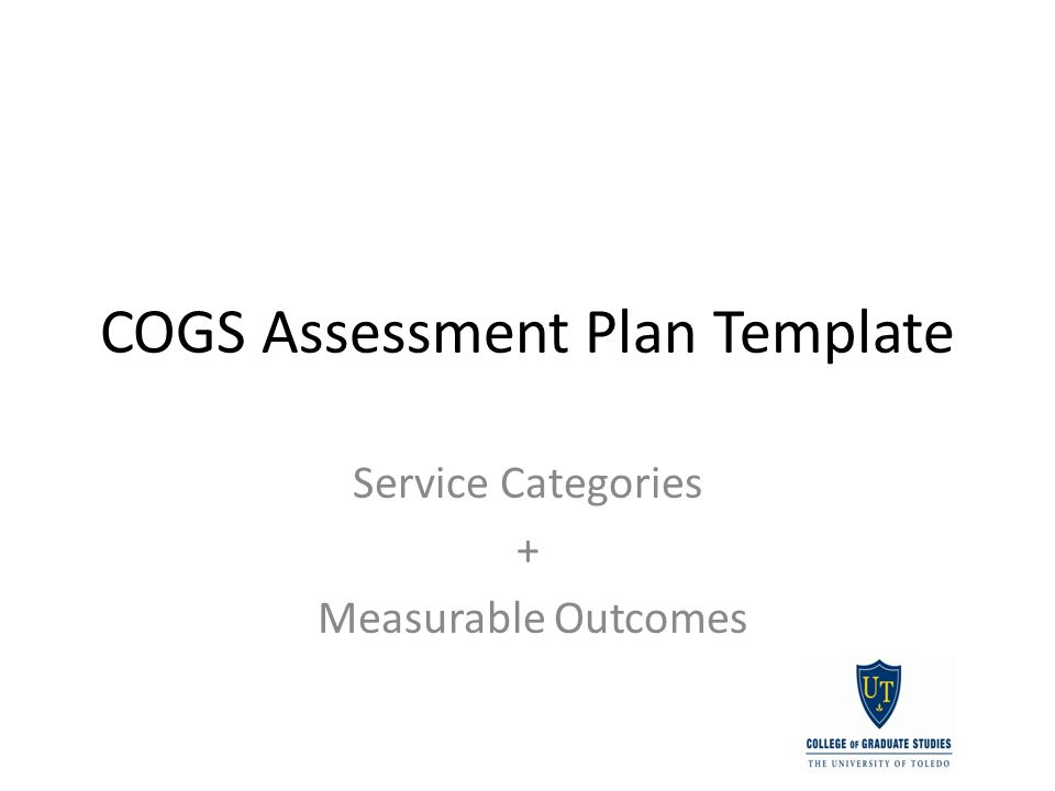 COGS Assessment Plan Template Service Categories + Measurable Outcomes