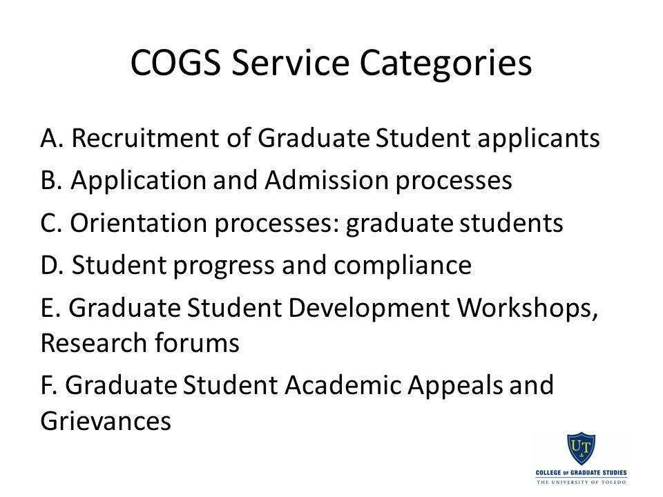 COGS Service Categories A. Recruitment of Graduate Student applicants B.