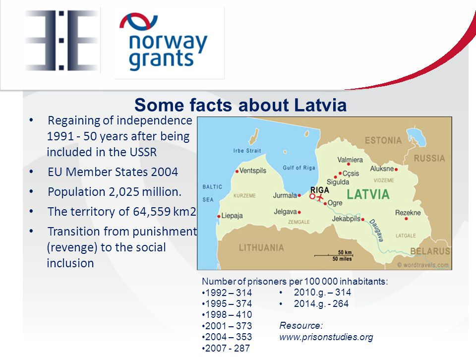 Some facts about Latvia Regaining of independence 1991 - 50 years after being included in the USSR EU Member States 2004 Population 2,025 million.