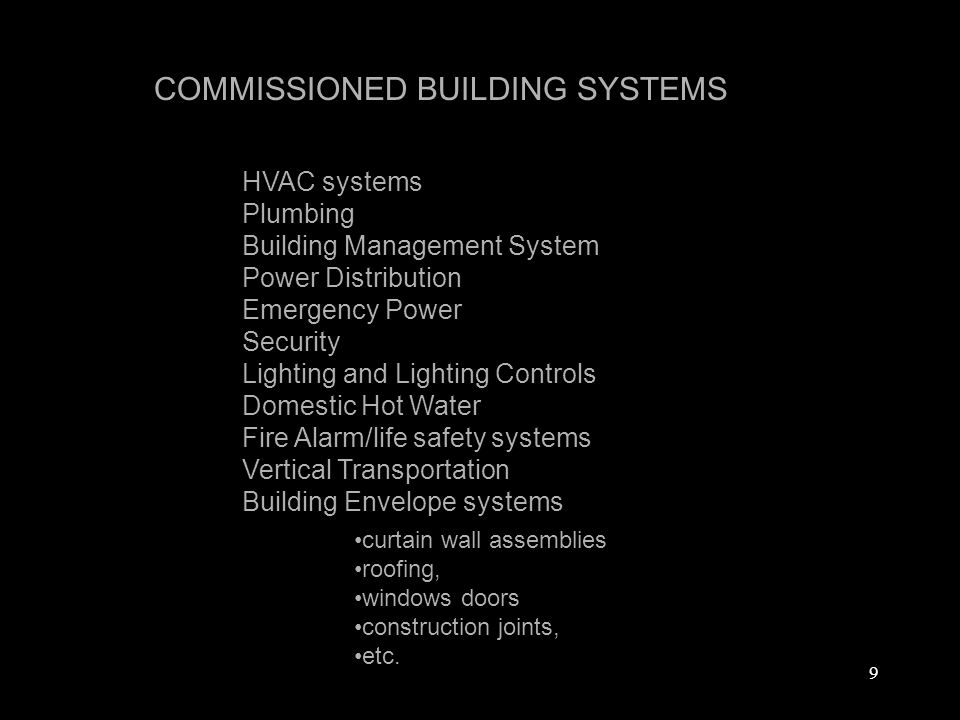 9 HVAC systems Plumbing Building Management System Power Distribution Emergency Power Security Lighting and Lighting Controls Domestic Hot Water Fire