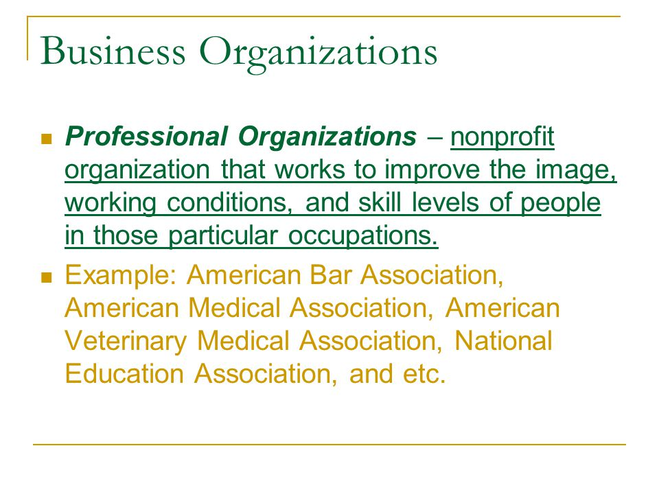 Business Organizations Professional Organizations – nonprofit organization that works to improve the image, working conditions, and skill levels of pe