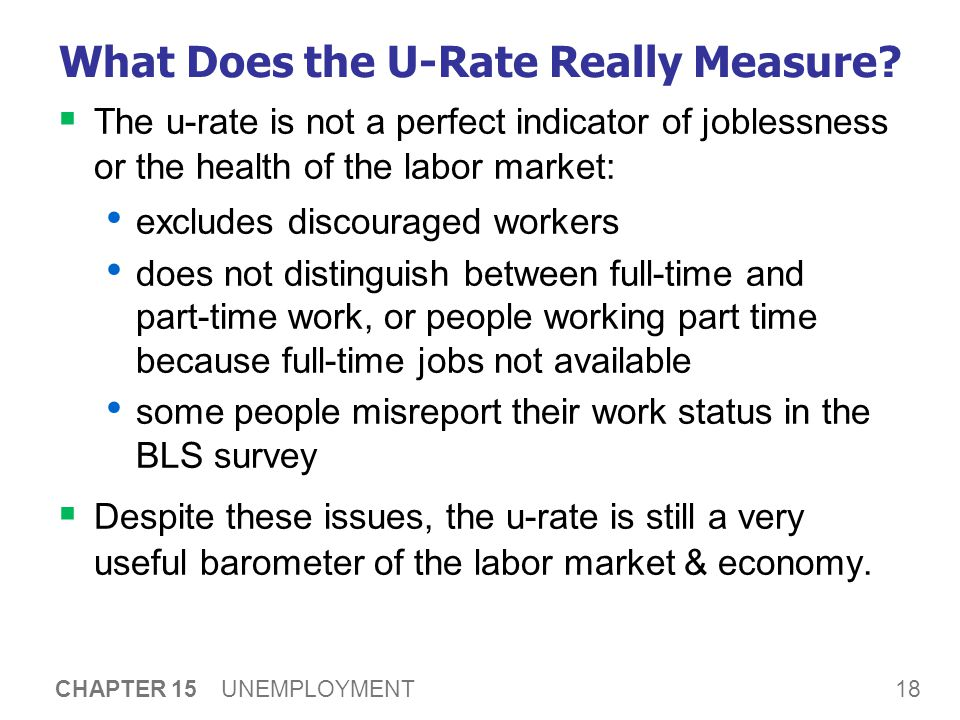 18 CHAPTER 15 UNEMPLOYMENT What Does the U-Rate Really Measure.