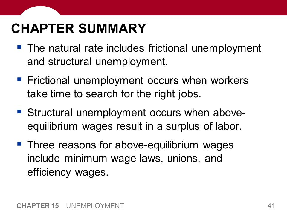 41 CHAPTER 15 UNEMPLOYMENT CHAPTER SUMMARY  The natural rate includes frictional unemployment and structural unemployment.