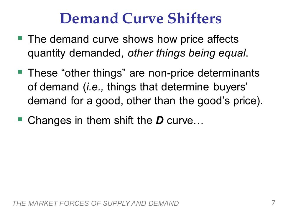 THE MARKET FORCES OF SUPPLY AND DEMAND 8 Demand Curve Shifters: # of Buyers  Increase in # of buyers increases quantity demanded at each price, shifts D curve to the right.