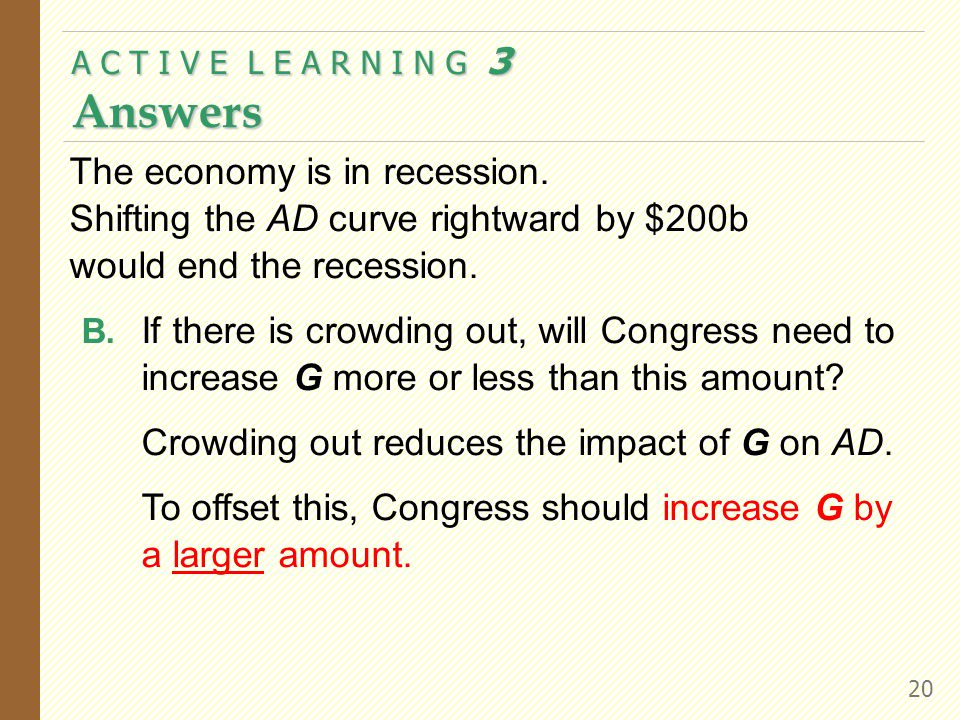 A C T I V E L E A R N I N G 3 Answers 20 The economy is in recession.