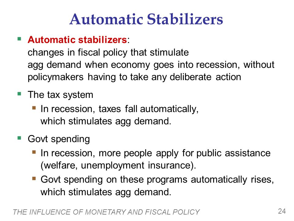 THE INFLUENCE OF MONETARY AND FISCAL POLICY 24 Automatic Stabilizers  Automatic stabilizers: changes in fiscal policy that stimulate agg demand when economy goes into recession, without policymakers having to take any deliberate action  The tax system  In recession, taxes fall automatically, which stimulates agg demand.