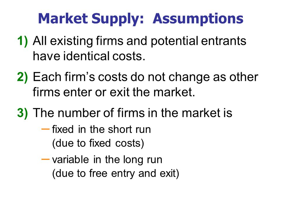 Market Supply: Assumptions 1) All existing firms and potential entrants have identical costs.