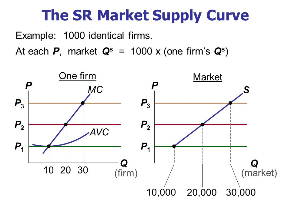 The SR Market Supply Curve MC P2P2 Market Q P (market) One firm Q P (firm) S P3P3 Example: 1000 identical firms. At each P, market Q s = 1000 x (one f