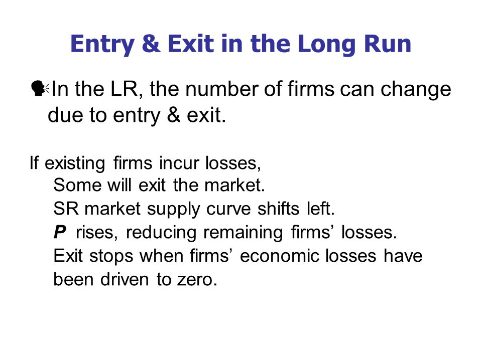 Entry & Exit in the Long Run In the LR, the number of firms can change due to entry & exit.