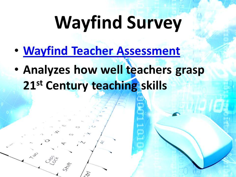 Wayfind Survey Wayfind Teacher Assessment Analyzes how well teachers grasp 21 st Century teaching skills