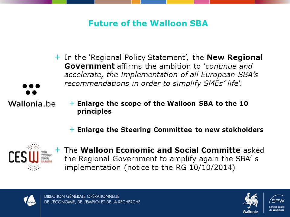 Future of the Walloon SBA In the 'Regional Policy Statement', the New Regional Government affirms the ambition to 'continue and accelerate, the implementation of all European SBA's recommendations in order to simplify SMEs' life'.