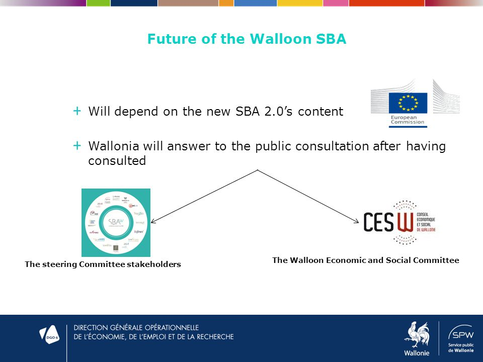Future of the Walloon SBA Will depend on the new SBA 2.0's content Wallonia will answer to the public consultation after having consulted The steering Committee stakeholders The Walloon Economic and Social Committee