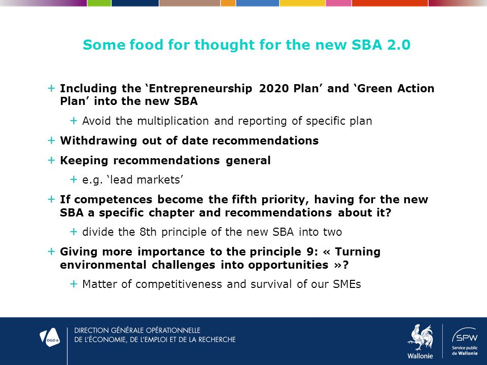 Some food for thought for the new SBA 2.0 Including the 'Entrepreneurship 2020 Plan' and 'Green Action Plan' into the new SBA Avoid the multiplication and reporting of specific plan Withdrawing out of date recommendations Keeping recommendations general e.g.