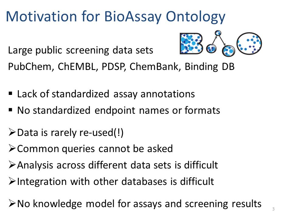  Lack of standardized assay annotations  No standardized endpoint names or formats  Data is rarely re-used(!)  Common queries cannot be asked  An
