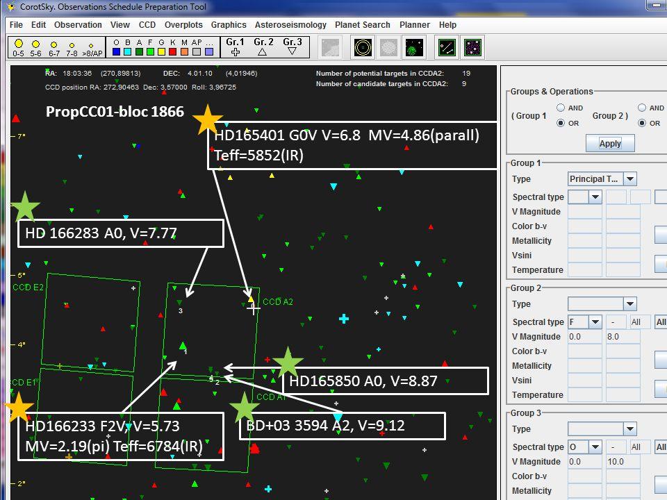 PropCC02-bloc 1867 HD180409 G0V V=6.93 MV=4.64(parall) Teff=6065(IR) HD 180292 K2, V=7.58 HD179993 A4V, V=9.36 HD179718 A1V, V=8.34 HD 179687 K2, V=7.7