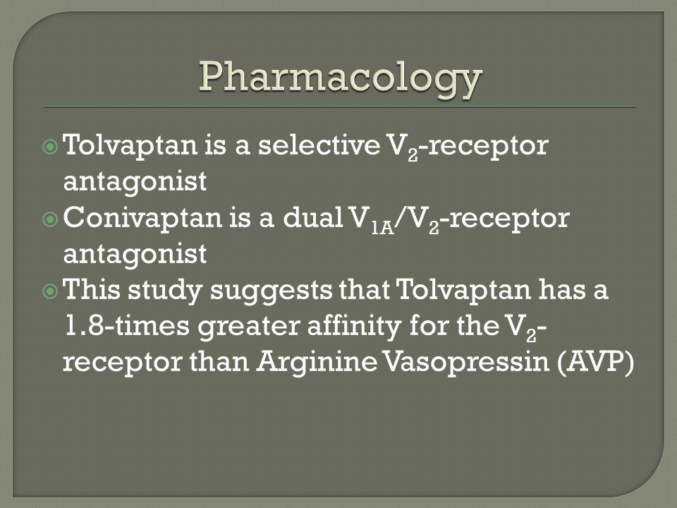  Tolvaptan is a selective V 2 -receptor antagonist  Conivaptan is a dual V 1A /V 2 -receptor antagonist  This study suggests that Tolvaptan has a 1.8-times greater affinity for the V 2 - receptor than Arginine Vasopressin (AVP)