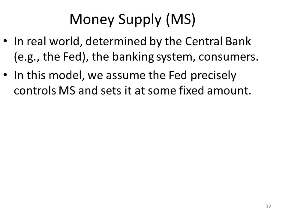 Money Demand (MD) Refers to how much wealth people want to hold in liquid form.