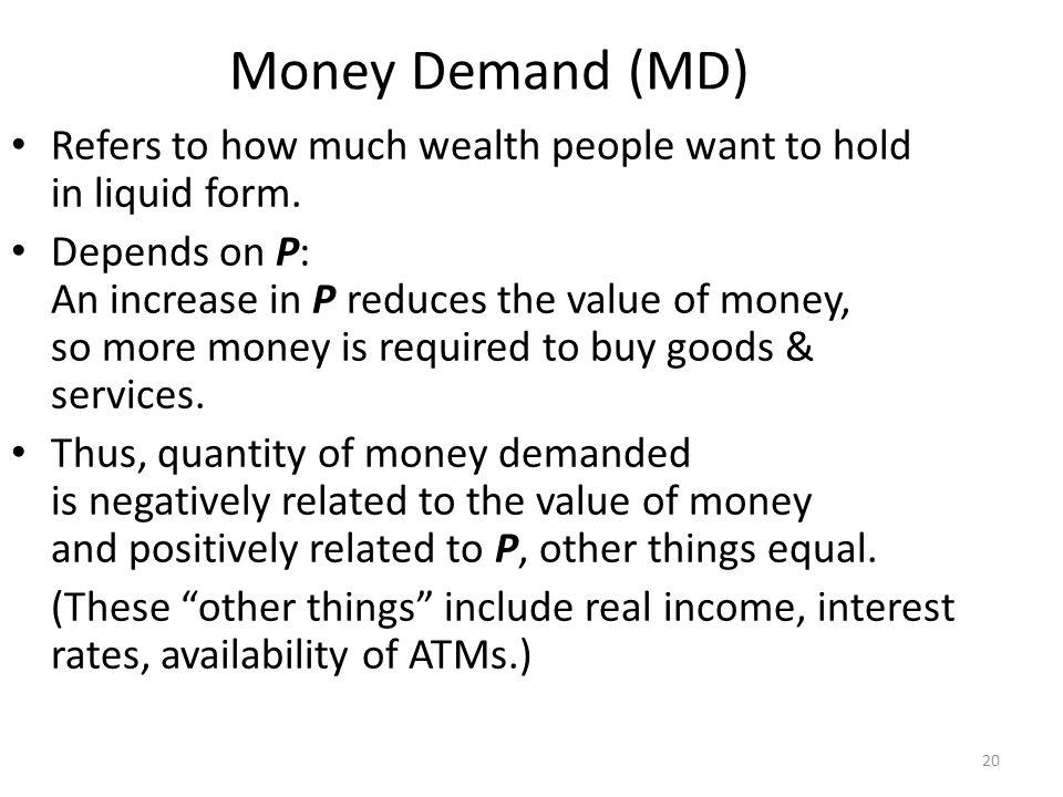 The Money Supply-Demand Diagram Value of Money, 1/P Price Level, P Quantity of Money 11 ¾ 1.33 ½2 ¼ 4 As the value of money rises, the price level falls.