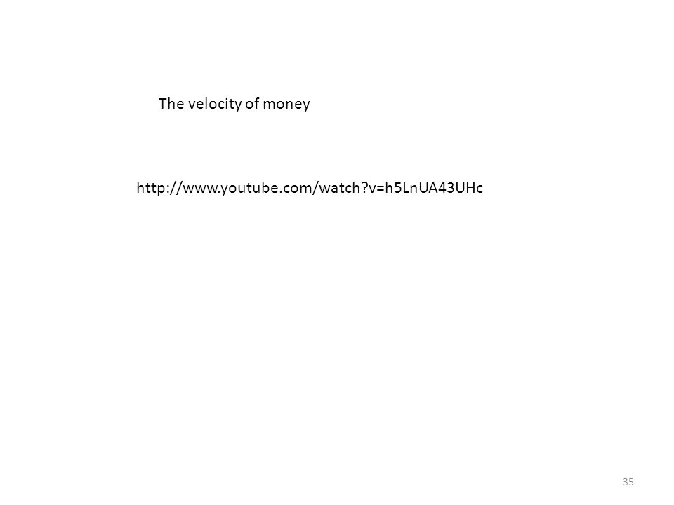 The Velocity of Money Velocity of money: the rate at which money changes hands Notation: P x Y = nominal GDP = (price level) x (real GDP) M = money supply V = velocity Velocity formula: V = P x Y M 36