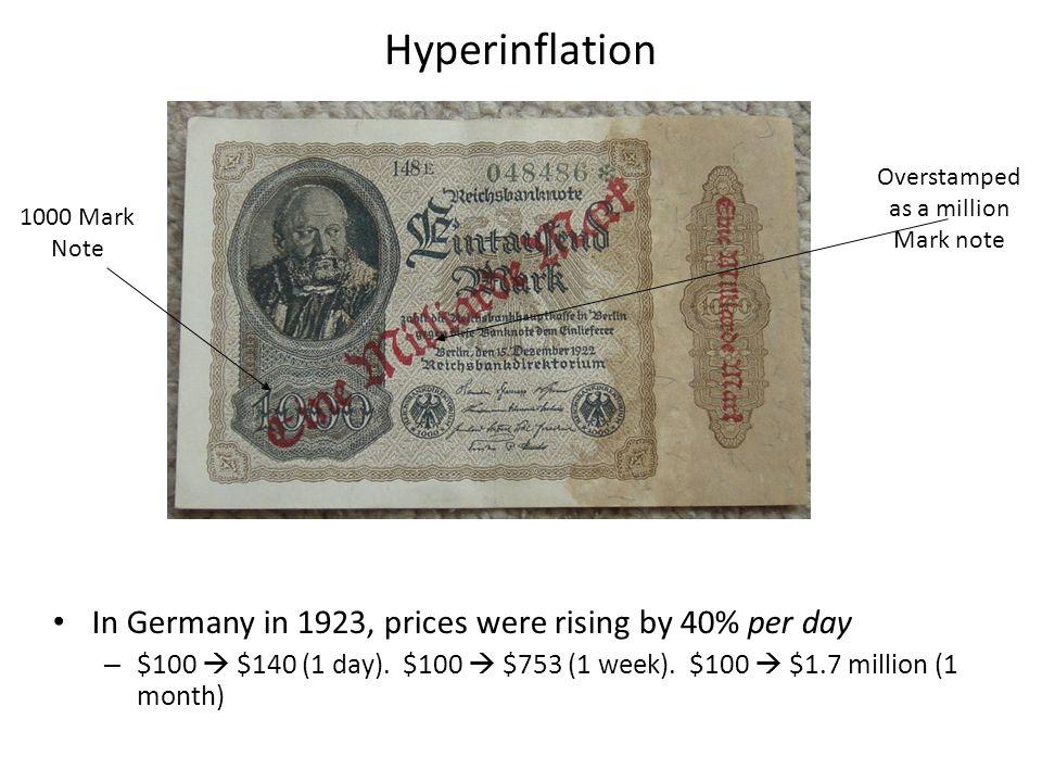 More from the German Hyperinflation 5,000 Marks, 1922 50 Marks, 1919 100 Billion Marks, 1924 1 Rentenmark, 1924
