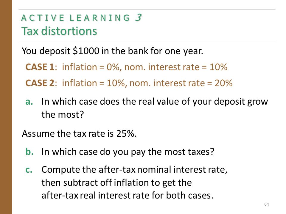 A C T I V E L E A R N I N G 3 Answers a.In which case does the real value of your deposit grow the most.