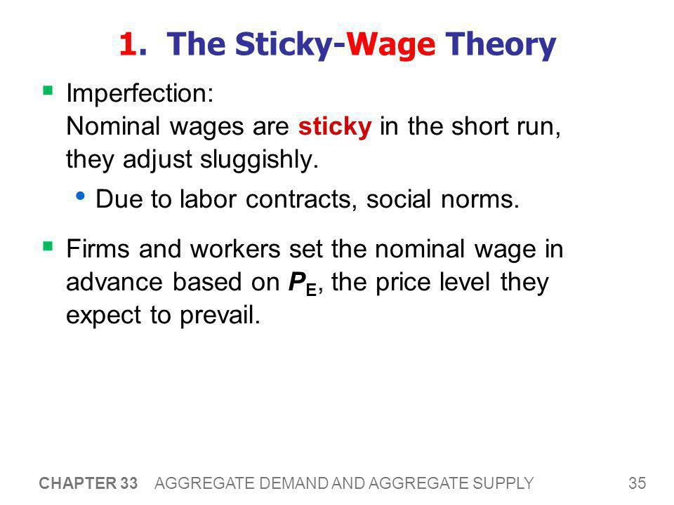 35 CHAPTER 33 AGGREGATE DEMAND AND AGGREGATE SUPPLY 1. The Sticky-Wage Theory  Imperfection: Nominal wages are sticky in the short run, they adjust s