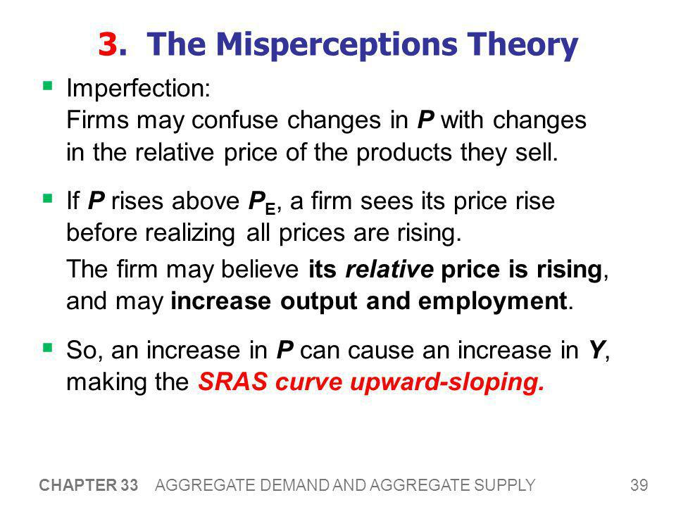 39 CHAPTER 33 AGGREGATE DEMAND AND AGGREGATE SUPPLY 3. The Misperceptions Theory  Imperfection: Firms may confuse changes in P with changes in the re