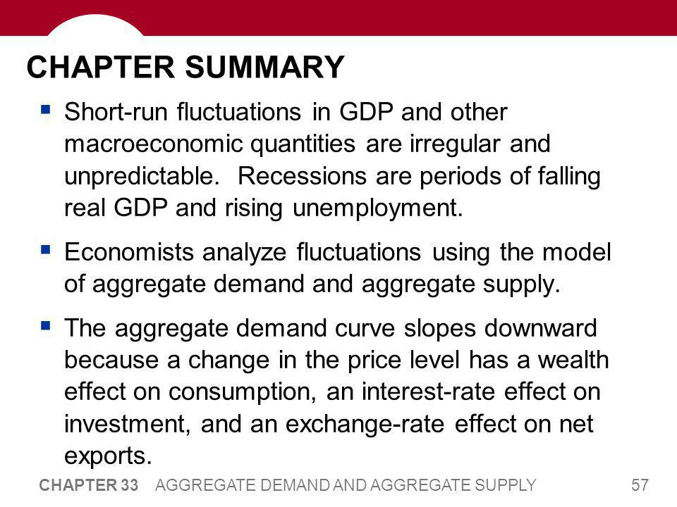57 CHAPTER 33 AGGREGATE DEMAND AND AGGREGATE SUPPLY CHAPTER SUMMARY  Short-run fluctuations in GDP and other macroeconomic quantities are irregular a