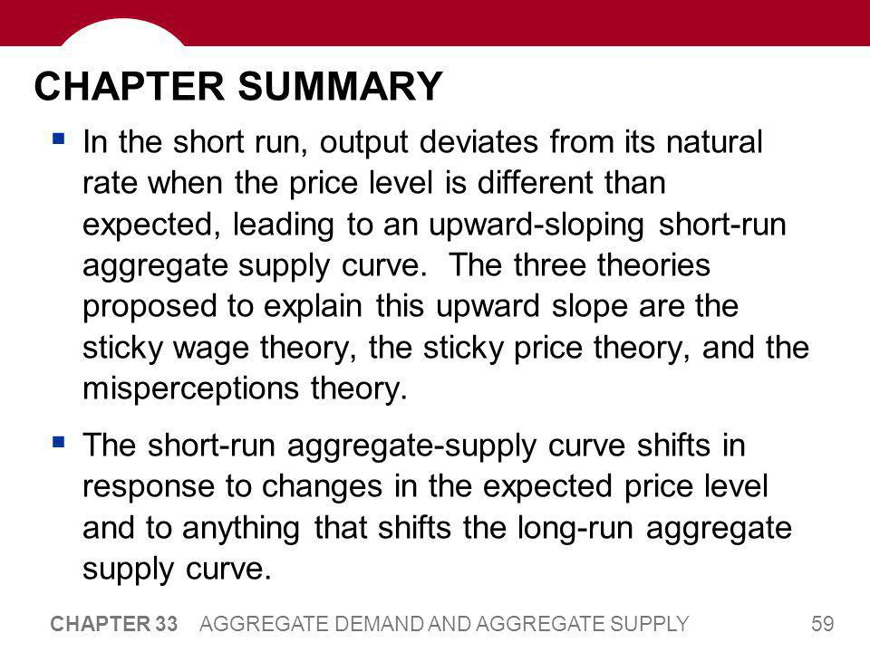 59 CHAPTER 33 AGGREGATE DEMAND AND AGGREGATE SUPPLY CHAPTER SUMMARY  In the short run, output deviates from its natural rate when the price level is