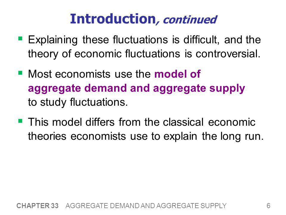 57 CHAPTER 33 AGGREGATE DEMAND AND AGGREGATE SUPPLY CHAPTER SUMMARY  Short-run fluctuations in GDP and other macroeconomic quantities are irregular and unpredictable.