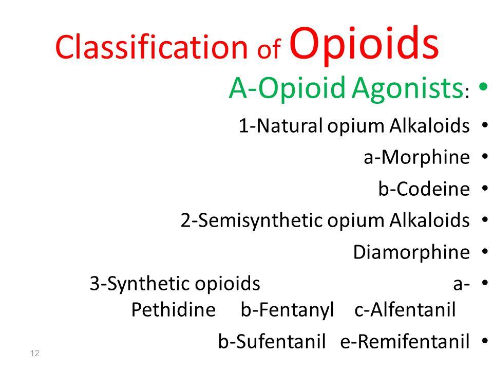 Classification of Opioids A-Opioid Agonists : 1-Natural opium Alkaloids a-Morphine b-Codeine 2-Semisynthetic opium Alkaloids Diamorphine 3-Synthetic opioids a- Pethidine b-Fentanyl c-Alfentanil b-Sufentanil e-Remifentanil 12