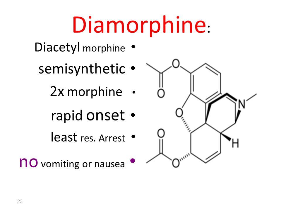 Diamorphine : Diacetyl morphine semisynthetic 2x morphine rapid onset least res. Arrest no vomiting or nausea 23