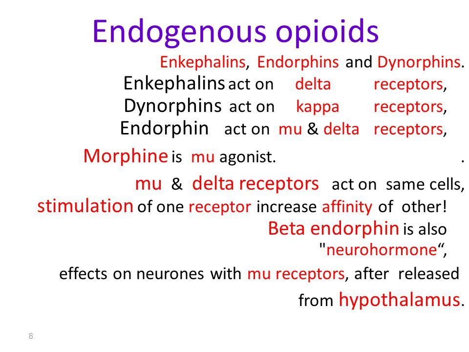 8 Endogenous opioids Enkephalins, Endorphins and Dynorphins. Enkephalins act on delta receptors, Dynorphins act on kappa receptors, Endorphin act on m