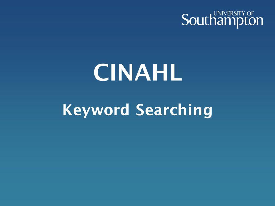CINAHL Keyword Searching