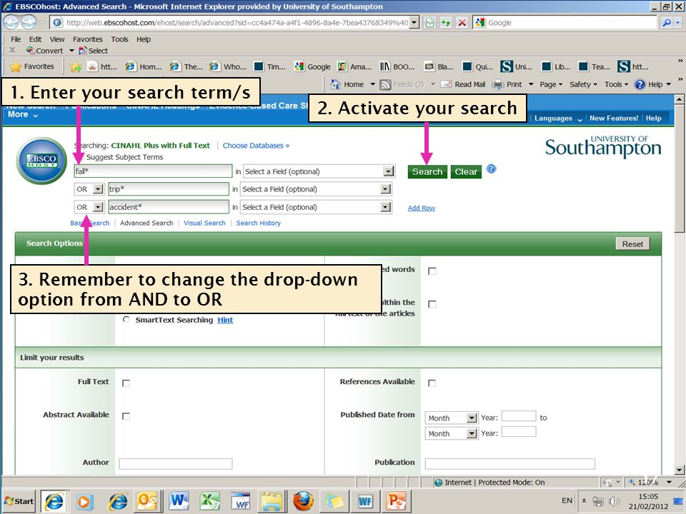 17 1. Enter your search term/s 2. Activate your search 3. Remember to change the drop-down option from AND to OR