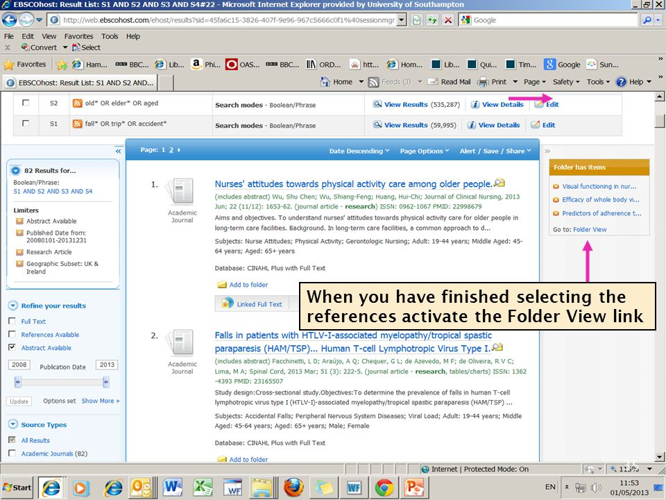 35 When you have finished selecting the references activate the Folder View link