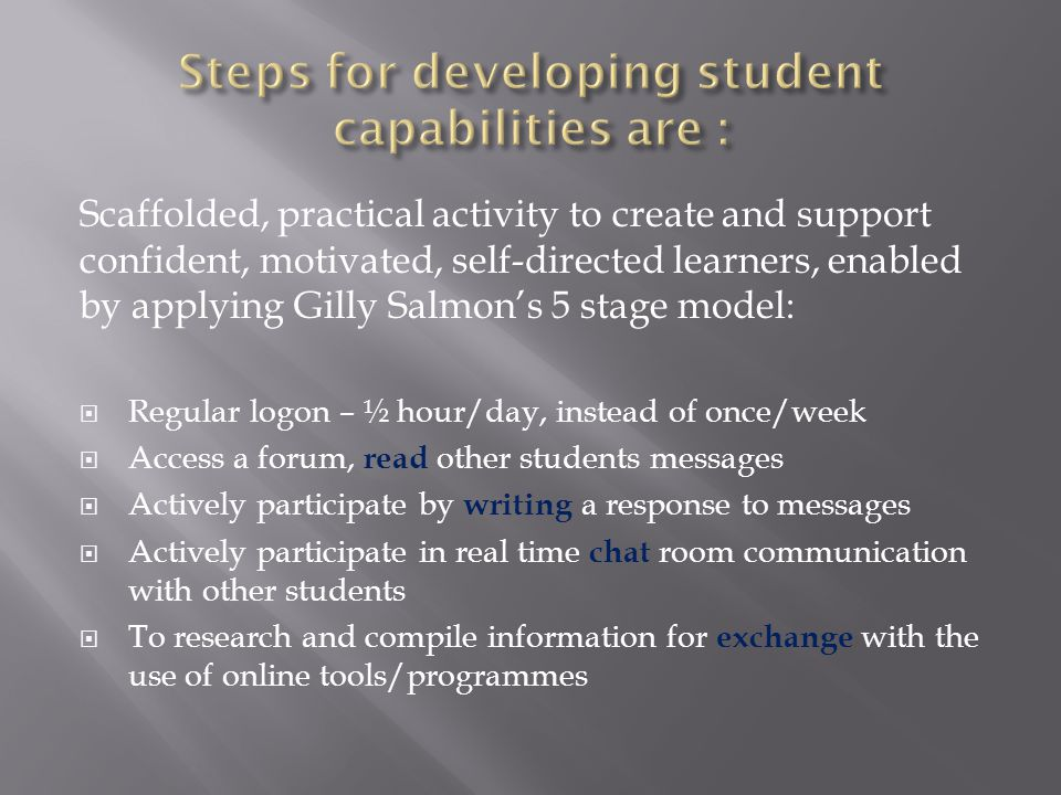 Scaffolded, practical activity to create and support confident, motivated, self-directed learners, enabled by applying Gilly Salmon's 5 stage model:  Regular logon – ½ hour/day, instead of once/week  Access a forum, read other students messages  Actively participate by writing a response to messages  Actively participate in real time chat room communication with other students  To research and compile information for exchange with the use of online tools/programmes