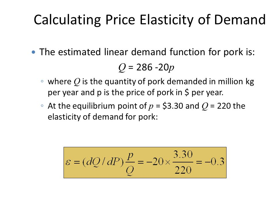 Calculating Price Elasticity of Demand The estimated linear demand function for pork is: Q = 286 -20 p ◦ where Q is the quantity of pork demanded in m