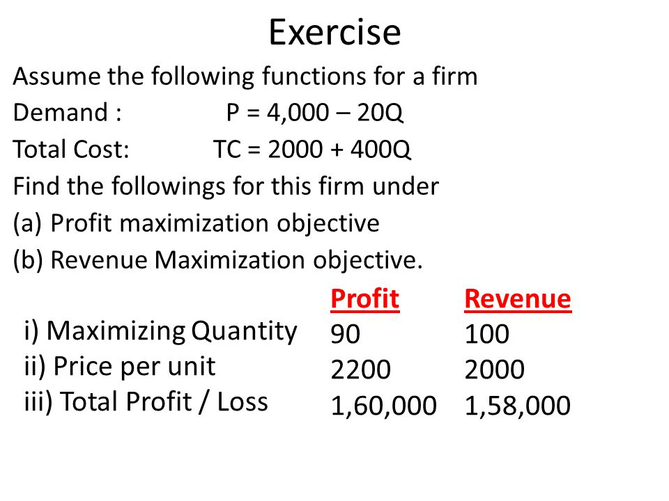 Exercise Assume the following functions for a firm Demand : P = 4,000 – 20Q Total Cost: TC = 2000 + 400Q Find the followings for this firm under (a)Pr