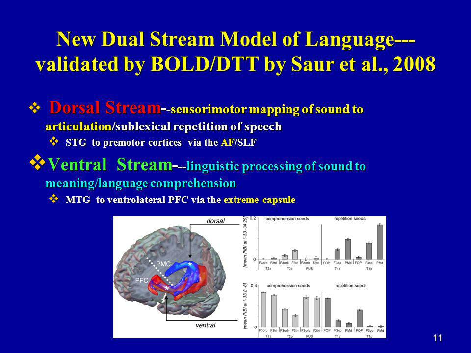 New Dual Stream Model of Language--- validated by BOLD/DTT by Saur et al., 2008  Dorsal Stream- -sensorimotor mapping of sound to articulation/sublexical repetition of speech  STG to premotor cortices via the AF/SLF  Ventral Stream- --linguistic processing of sound to meaning/language comprehension  MTG to ventrolateral PFC via the extreme capsule 11