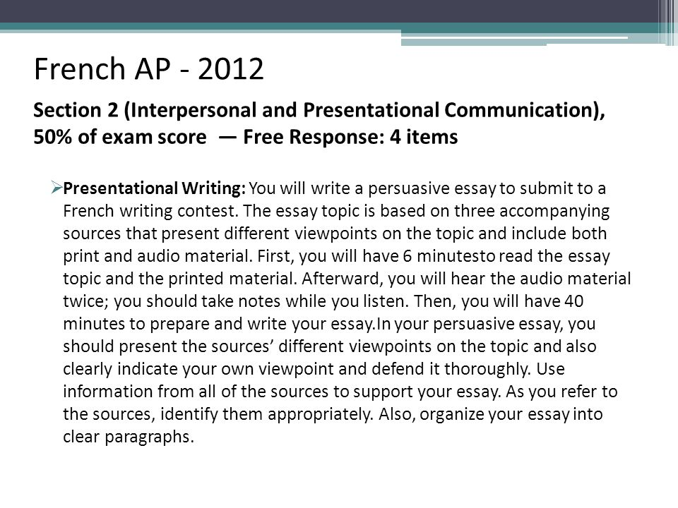 French AP - 2012 Section 2 (Interpersonal and Presentational Communication), 50% of exam score — Free Response: 4 items  Presentational Writing: You