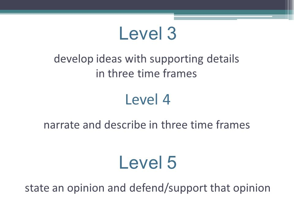 Level 4 narrate and describe in three time frames Level 3 develop ideas with supporting details in three time frames Level 5 state an opinion and defe