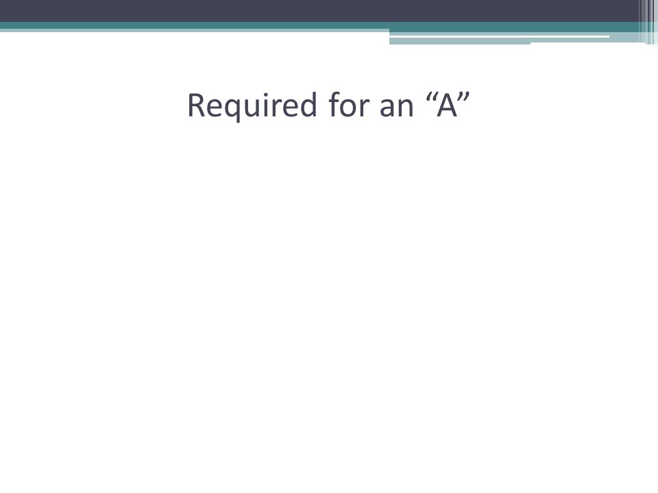 """Required for an """"A"""""""