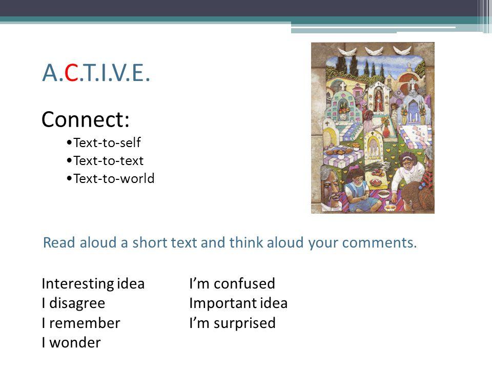A.C.T.I.V.E. Connect: Text-to-self Text-to-text Text-to-world Interesting ideaI'm confused I disagreeImportant idea I remember I'm surprised I wonder