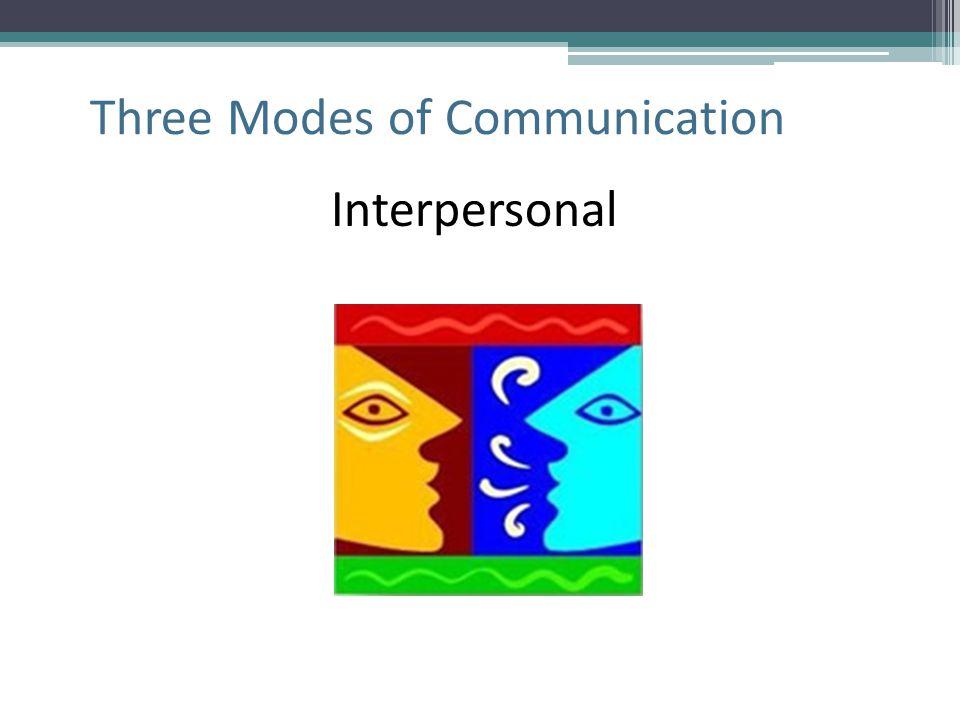 Three Modes of Communication Interpersonal