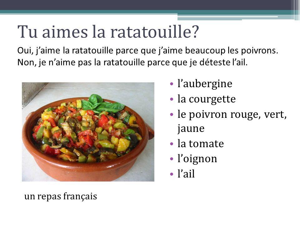 Tu aimes la ratatouille? l'aubergine la courgette le poivron rouge, vert, jaune la tomate l'oignon l'ail un repas français Oui, j'aime la ratatouille